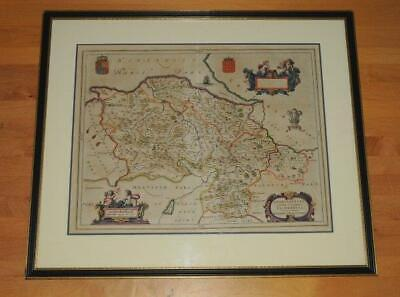 Blaeu Original Engraved Map of Denbeighshire & Flintshire Hand Coloured 1647-59