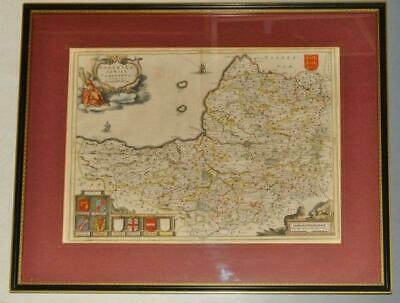 Blaeu Original Engraved Map of Somerset Hand Coloured Novus Atlas 1645-62