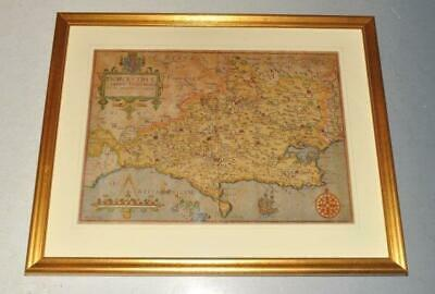 Kipp Original Engraved Map of Dorsetshire Hand Coloured Camden's Britannia 1607
