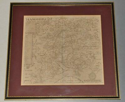 Norden Original Engraved Map of Hampshire Scale Hundreds Market Towns Key 1607
