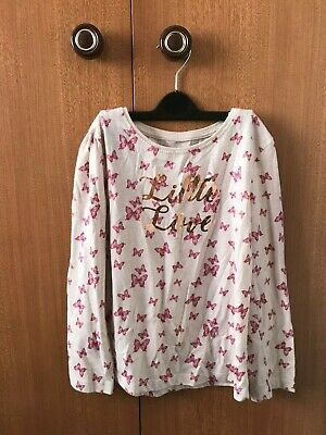 Primark Girls Marl Pink Long Sleeve Butterfly T-Shirt / Top - 7 / 8 Years - Used
