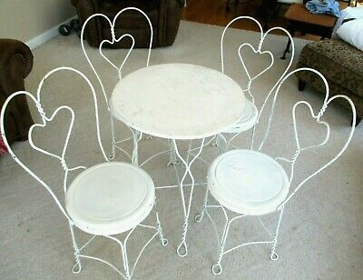 Vintage Ice Cream Parlor-Soda Fountain-4 Heart Shaped Iron Chairs & Table Set