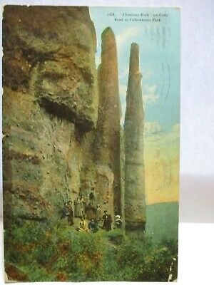 "1915 Postcard "" Chimney Rock "" On Cody Road Yellowstone Park People, Flag Cancel"