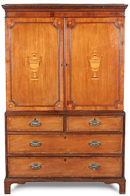 A George III mahogany and marquetry linen press