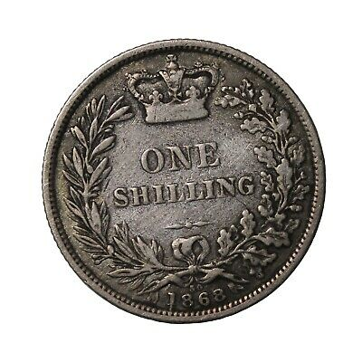 1868 Britain Silver One Shilling Die Number 30 Queen Victoria Coin KM#734.2