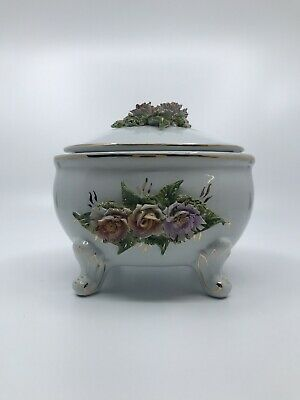 Vintage Ceramic Footed Vanity Trinket Jewelry Box With Applied Flowers Unmarked