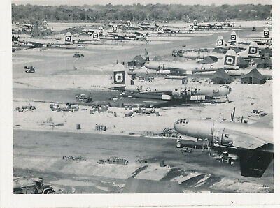 WWII 1940s GI's  South Pacific Photo busy Guam airbase, 16+ airplane bombers