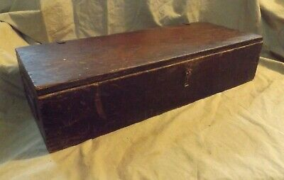 Primitive Antique Grain Painted Long Wooden Empty Box GILBERT TOY ERECTOR SET