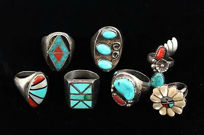 Antique American Indian Sterling Zuni Hopi Mother of Pearl Turquoise Coral Rings
