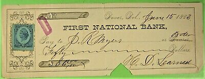 Bank Check, First National Bank, Dover, Del. 1883. Blue 2 cent revenue.