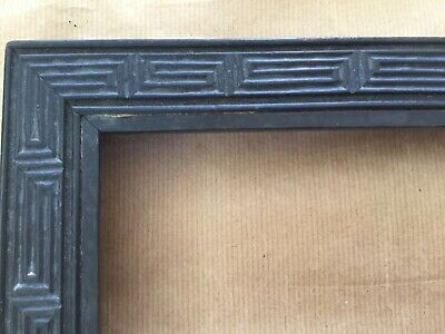Antique Chinese? picture frame - dark wood with geometric decoration
