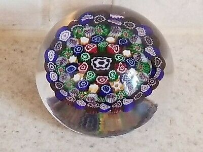 VINTAGE BACCARAT Multicolored CONCENTRIC MILLEFIORI CANES Art Glass PAPERWEIGHT