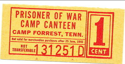 USA WWII POW Camp Chits TN1-2-1b Camp Forrest TN 1 Cent Prisoner of War