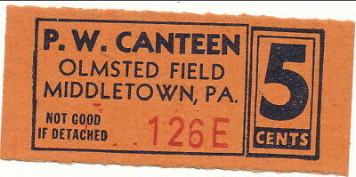 USA WWII POW Camp Chits PA-18-1-5a Olmsted Field PA 5 Cent Prisoner of War