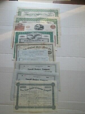 TEN (10), MANUFACTURING COMPANIES  STOCK CERTIFICATES, 1882-1973 as seen in pics