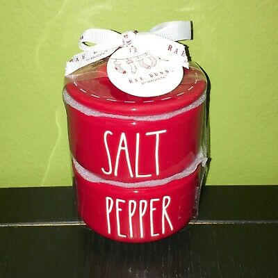 """RAE DUNN Holiday Christmas LL """"SALT"""" & """"PEPPER"""" Red Stacked Cellars W/ Gift Tag"""