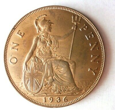 1936 GREAT BRITAIN PENNY - AU/UNC with lots of Red - Great Coin - Lot #M25