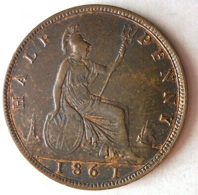 1861 GREAT BRITAIN 1/2 PENNY - AU with RED Hints - Awesome Coin - Lot #M25