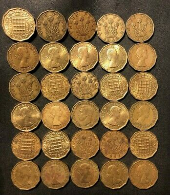 Vintage Great Britain Coin Lot - 3 PENCE - 1937-1967 - 30 GREAT Coins - Lot #M25