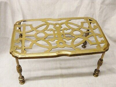 antique large brass trivet victorian cast brass 1850s ornate fireside display