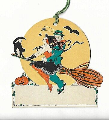 Art Deco Die-Cut Place Card Tally Combo Halloween Rust Craft Witch Man on Broom
