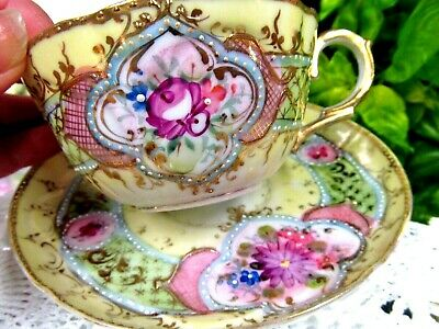 NIPPON tea cup and saucer Beaded painted roses Moriage design teacup Japan