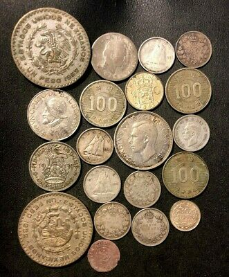 Vintage World Silver Coin Lot - 1648-1962 - 20 Uncommon Silver Coins - Lot #M25