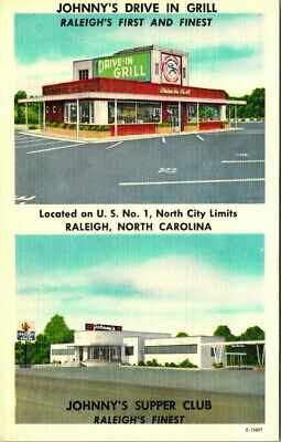 C36-4656, Johnny's Drive In Grill, Raleigh, Nh., Postcard.