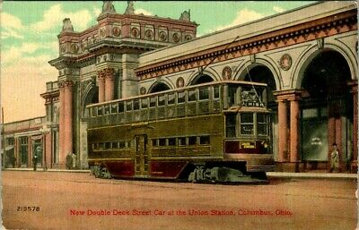 C36-4666, New Double Deck Street Car At The Union Station, Columbus, Ohio.,