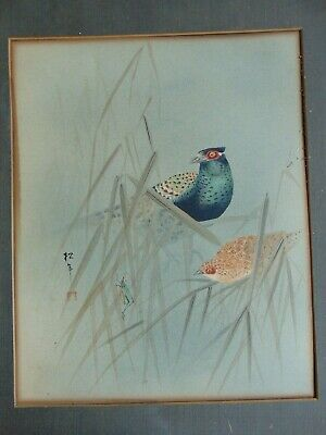 ANTIQUE JAPANESE WATERCOLOR PAINTING of BIRDS