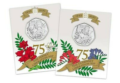 Liberation of Jersey + Guernsey BU 50p Set 75th Anniversary VE Day Channel Isles