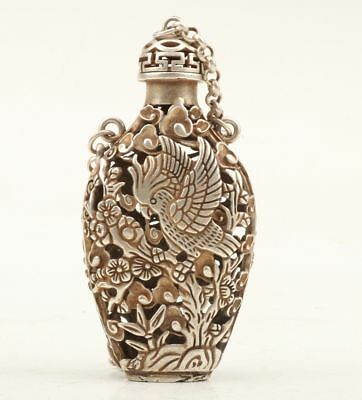 Chinese Retro Tibetan Silver Hand Carved Bird Crane Statue Cutout Snuff Bottle