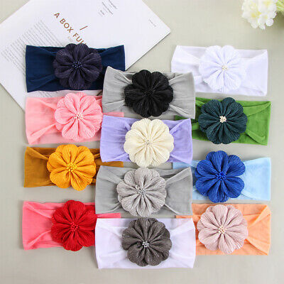 Soft Baby Nylon Headbands Head Wraps Toddler Turban Girls Flower Hairband