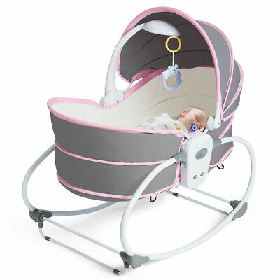 5 in 1 Portable Baby Rocking Bassinet Multi-Functional Crib w/ Adjustable