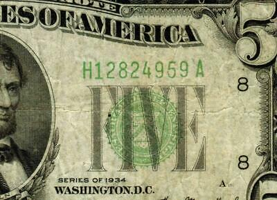 $5 1934   Federal Reserve Note (( Green Seal )) More Currency for Auction