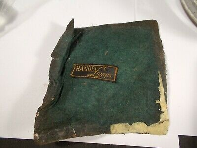 Vtg Handel Leaded Slag Stained Glass Lamp Base Felt Pad with Handel Lamps Tag