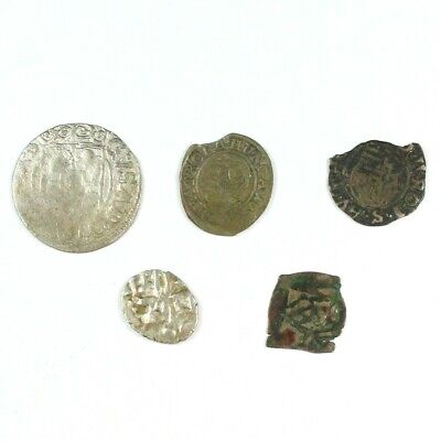 Lot of 5 Medieval Silver Coins c. approx 1400 A.D. - Exact Lot Shown 8190