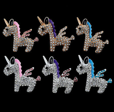 2Pcs Alloy Rhinestones Unicorn Embellishments for Crafts Decorations Gold Silver