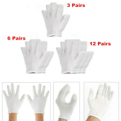 12 Pairs 18.5cm White Thin Reusable Elastic Soft Cotton Work Gloves Unisex Gift