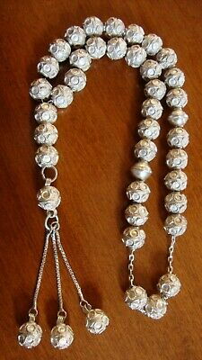 Vintage Silver Praying Beads Komboloi Very Good Condition 12 In.