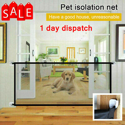 UK Hot Retractable Pet Dog Gate Safety Guard Folding Baby Stair Gate Isolation