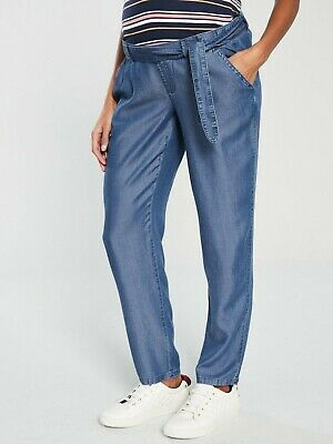 Mamalicious Maternity Under the Bump Chambray Denim Belted Trousers Pants Size S
