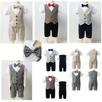 Toddler Infant Baby Boys Romper Jumpsuit Kids Waistcoat Gentleman Formal Clothes