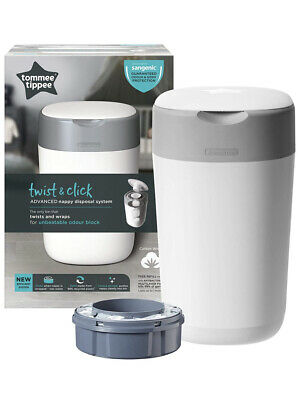 Tommee Tippee Twist And Click Advanced Nappy Disposal Sangenic Tec Bin White
