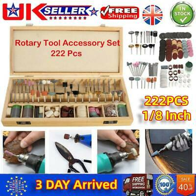 222pcs 1/8 Inch Shank Rotary Tool Accessories Bit for Dremel with Storage Box UK