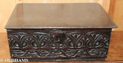 Superb Antique Oak 17th Century Bible Box - Heavily Carved
