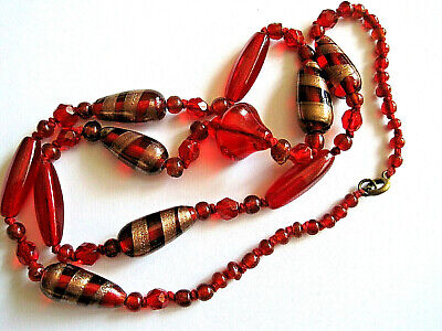 Art Deco Murano Ruby Glass Bead String Necklace Immaculate Condition
