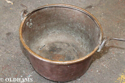 Superb Antique Copper and Wrought Iron Cauldron / Firewood Bucket - 19th Century