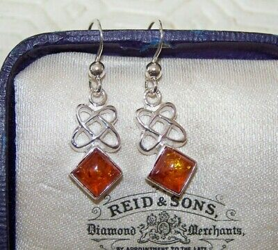 Stamped 925 Sterling Silver Scottish Celtic Knot & Real Amber Set Drop Earrings