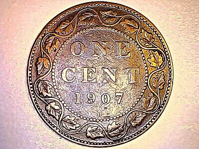 1907 H Canada Large 1 Cent King Edward Km# 8 Very Low Mintage Rare Key Date